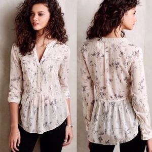 ANTHRO | MAEVE | Abella Pintuck Floral Blouse